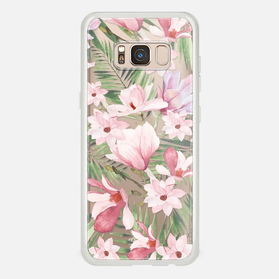 Galaxy S8 ケース - Blush pink lavender green watercolor tropical floral