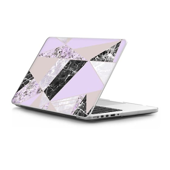 MacBook Pro Retina 13 Sleeves - Geometrical black white lavender abstract marble