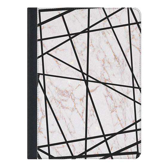 9.7-inch iPad Covers - Geometrical black gold faux glitter white marble