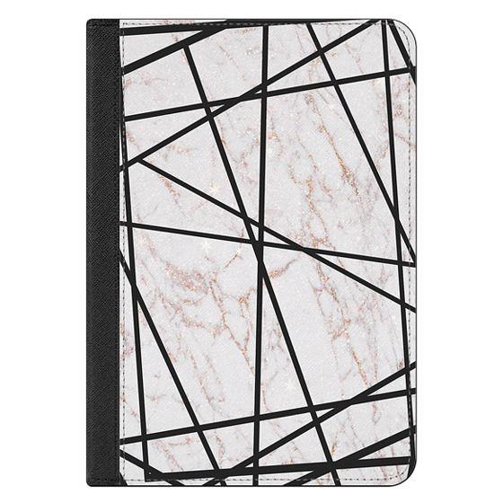 iPad Mini (2019) Covers - Geometrical black gold faux glitter white marble