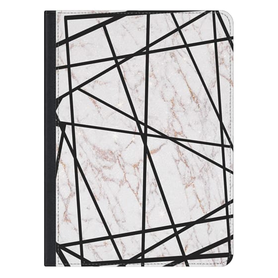 12.9-inch iPad Pro Covers - Geometrical black gold faux glitter white marble