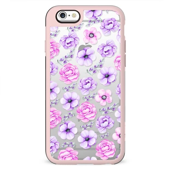 Modern hand painted purple pink watercolor floral pattern