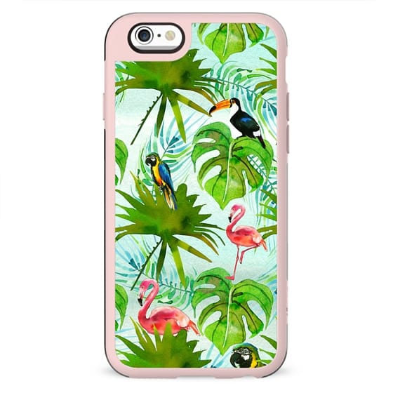 Tropical green pink colorful birds watercolor floral