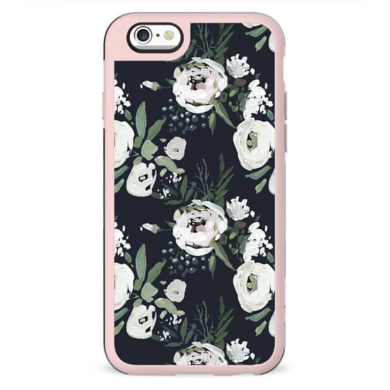 Hand painted white green dark gray watercolor flowers