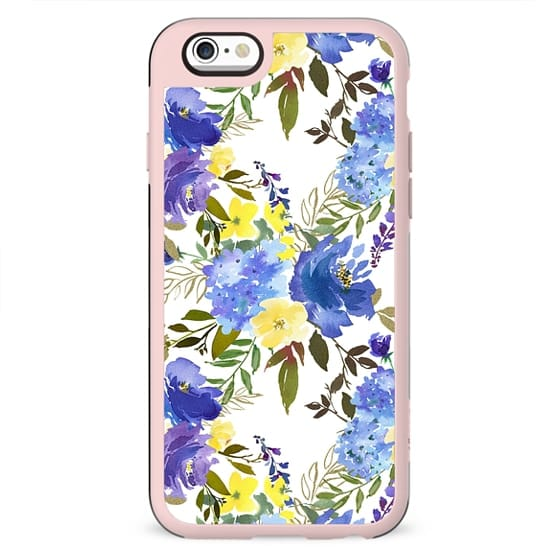 Violet yellow sky blue gold watercolor floral
