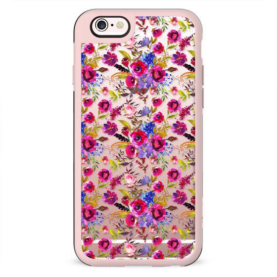 Pink lilac blue watercolor botanical floral pattern