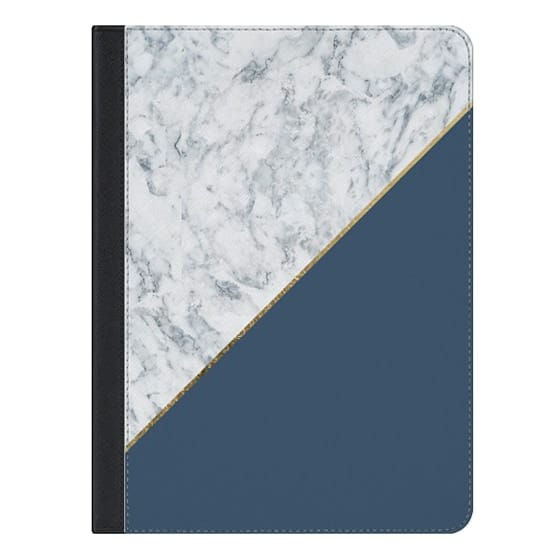 9.7-inch iPad Covers - Elegant mauve blue white marble faux gold geometric