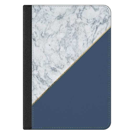 iPad Mini 4 Covers - Elegant mauve blue white marble faux gold geometric