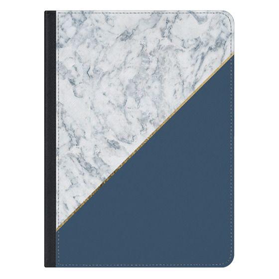 iPad Pro 12.9 Covers - Elegant mauve blue white marble faux gold geometric