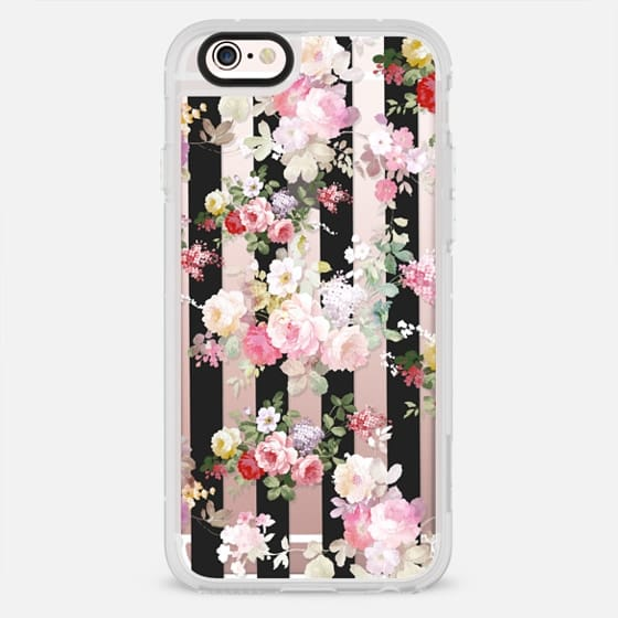 Black and white stripe bright pink roses flowers pattern - New Standard Case
