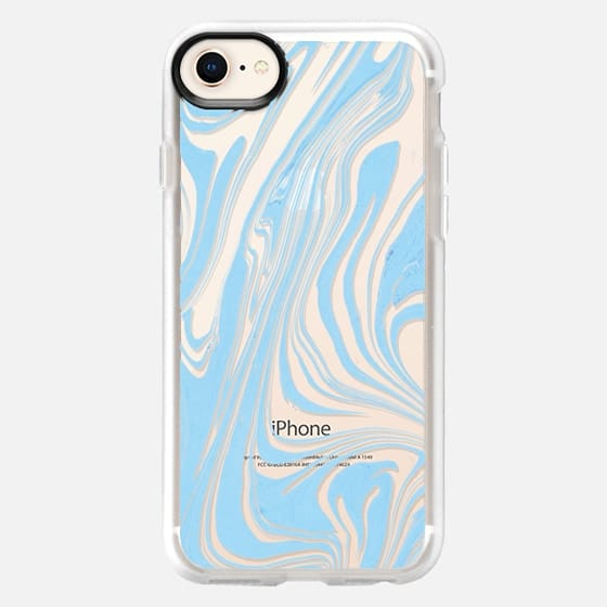 Pastel blue white modern chic marble - Snap Case