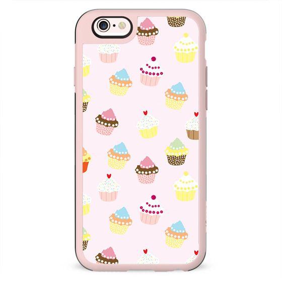 Vintage pink colorful sweet floral cupcakes pattern