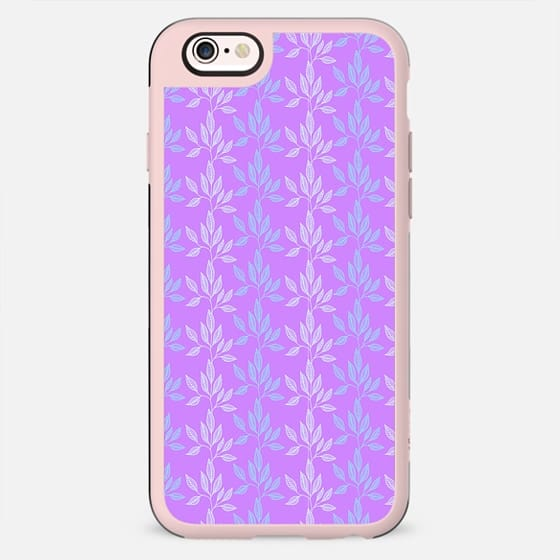 Modern purple teal white geometrical stripes floral - New Standard Case