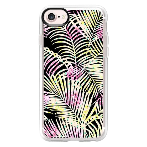 iPhone 7 Plus Cases - Modern black tropical pink floral palm tree