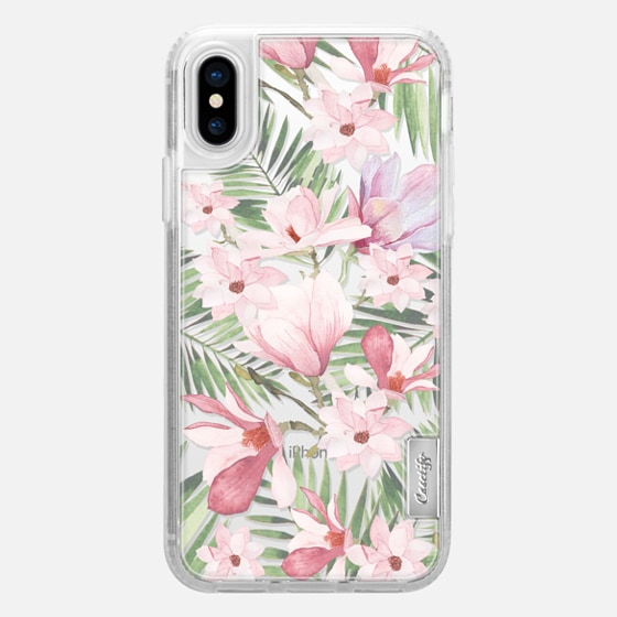 iPhone X Coque - Blush pink lavender green watercolor tropical floral