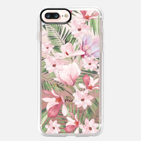 iPhone 7 Plus Coque - Blush pink lavender green watercolor tropical floral