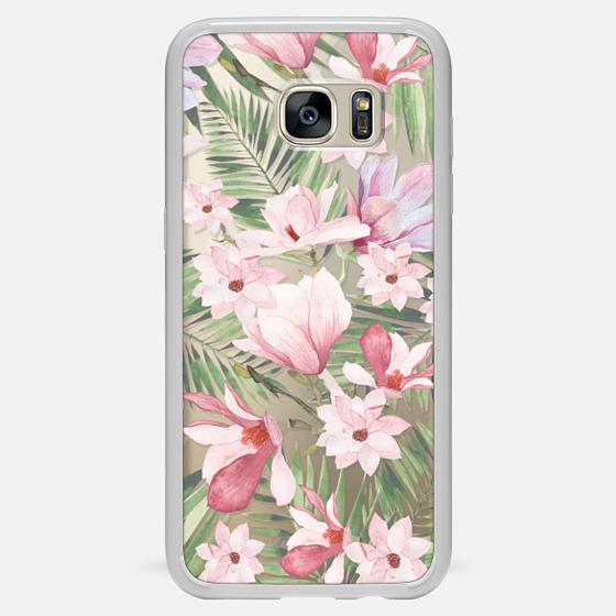 Galaxy S7 Edge Funda - Blush pink lavender green watercolor tropical floral