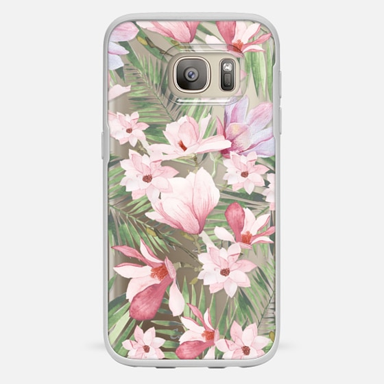 Galaxy S7 Case - Blush pink lavender green watercolor tropical floral