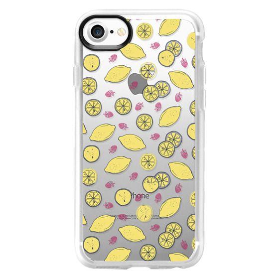 iPhone 7 Plus Cases - Modern sunshine yellow red lemon berries fruit pattern