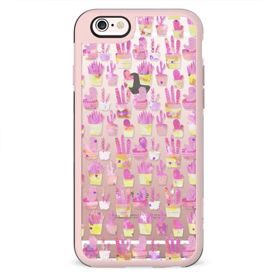 Girly blush pink coral watercolor hand painted cactus floral pattern