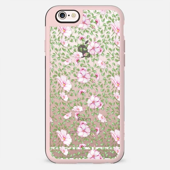 Pastel pink green watercolor hand painted flowers - New Standard Case