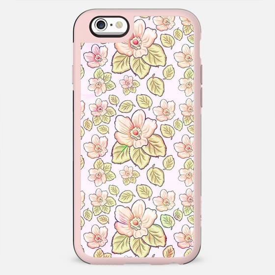 Modern pastel pink green watercolor tropical floral - New Standard Case