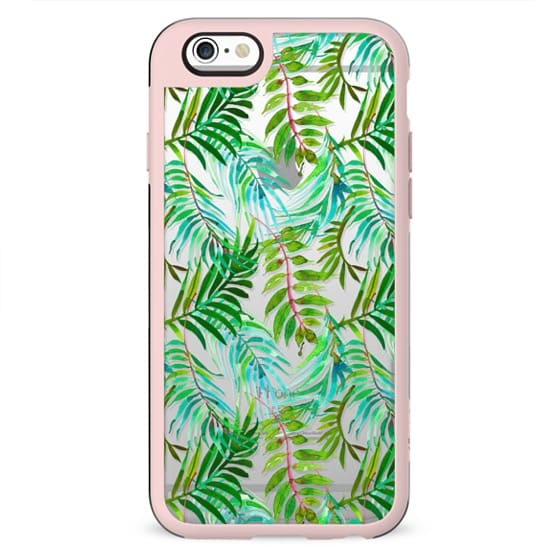 Hand painted teal green watercolor tropical leaves