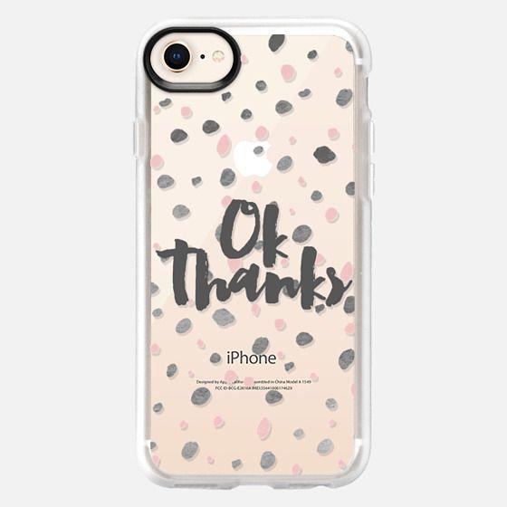 Modern ok thanks pastel pink  gray polka dots  - Snap Case