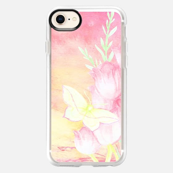 Trendy girly pastel pink yellow watercolor artistic flowers painting - Snap Case
