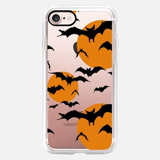 Black orange yellow halloween bats pattern -