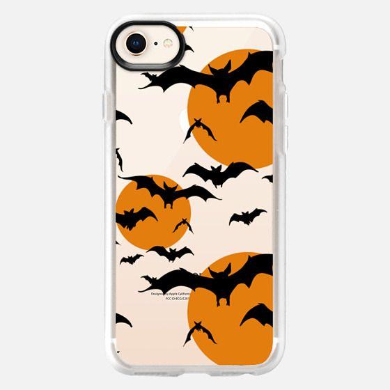 Black orange yellow halloween bats pattern - Snap Case