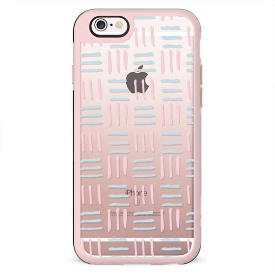 Modern hand painted blush pink teal brushstokes pattern
