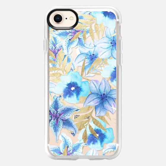 Elegant faux gold tropical leaves blue watercolor floral - Snap Case