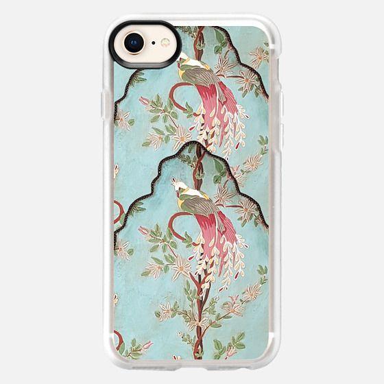 Vintage green coral pink floral elegant peacock bird - Snap Case