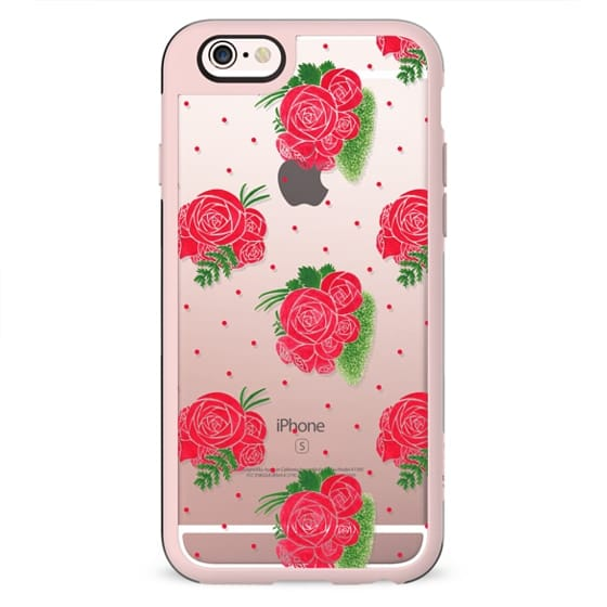 Modern red green watercolor roses floral polka dots