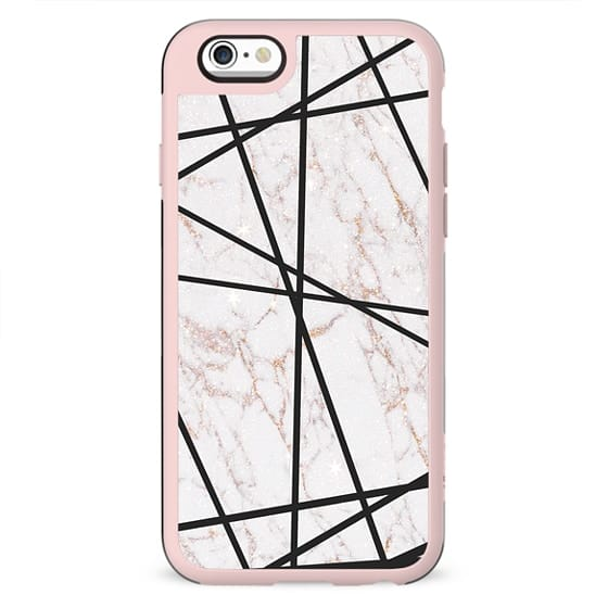 Geometrical black gold faux glitter white marble