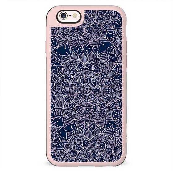 Modern navy blue blush pink watercolor floral mandala