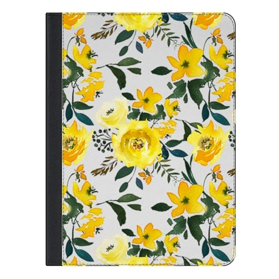 9.7-inch iPad Covers - Hand painted modern yellow green watercolor floral