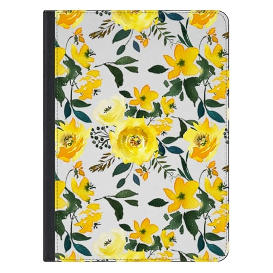 iPad Pro 12.9 Covers - Hand painted modern yellow green watercolor floral