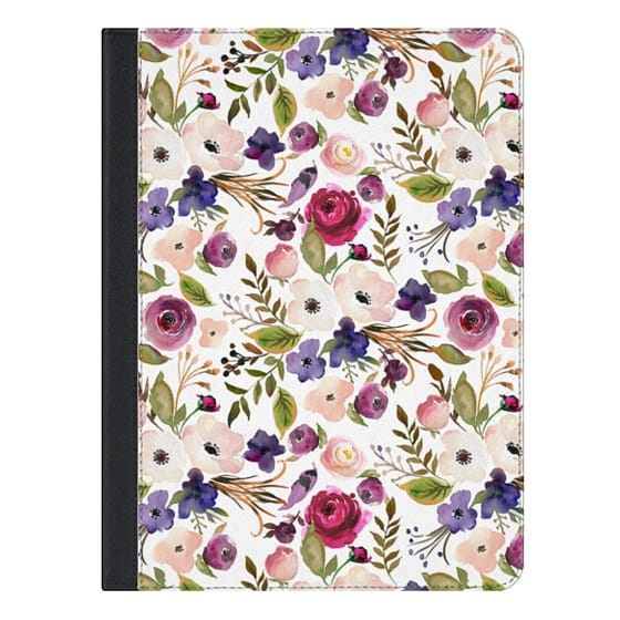 9.7-inch iPad Covers - Violet pink yellow green watercolor modern floral pattern