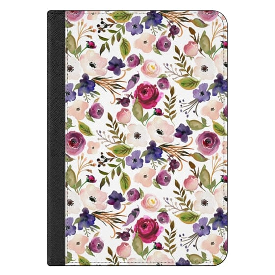 iPad Mini (2019) Covers - Violet pink yellow green watercolor modern floral pattern