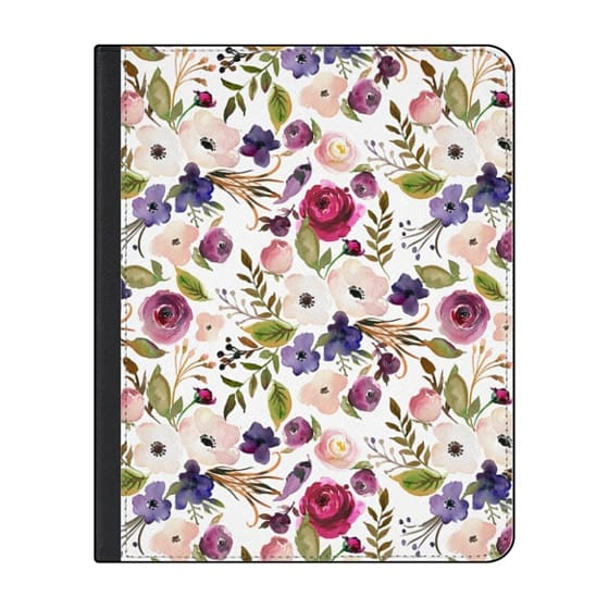 12.9-inch iPad Pro (2020) Covers - Violet pink yellow green watercolor modern floral pattern