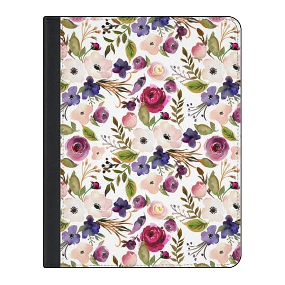 11-inch iPad Pro Covers - Violet pink yellow green watercolor modern floral pattern