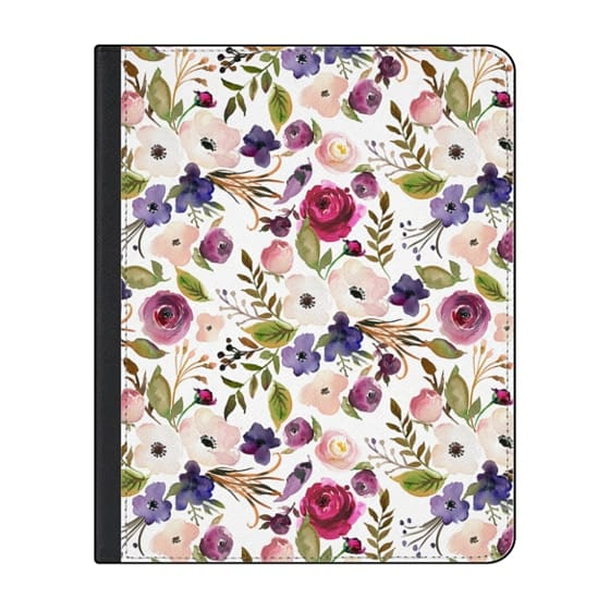 12.9-inch iPad Pro (2018) Covers - Violet pink yellow green watercolor modern floral pattern