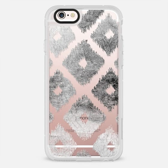 Modern chic faux silver leaf ikat pattern - New Standard Case