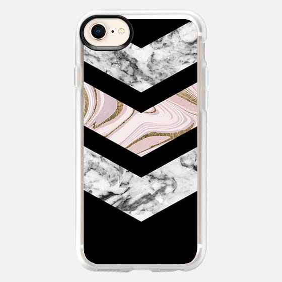 Modern black white pink faux gold chevron marble - Snap Case