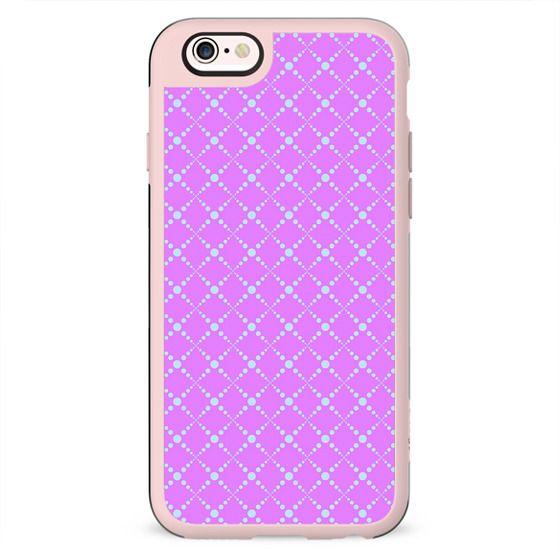 Pink teal abstract geometric polka dots diamonds pattern