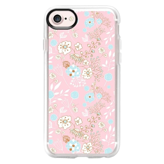 iPhone 7 Plus Cases - Cute pink teal white hand painted floral leaves pattern