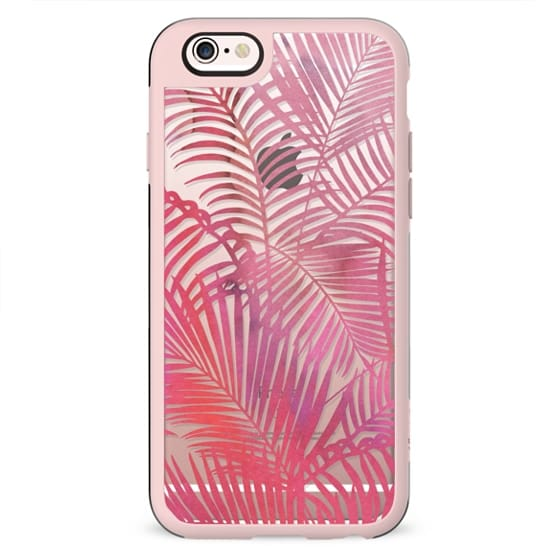 Pastel pink gradient  modern watercolor tropical palm trees pattern