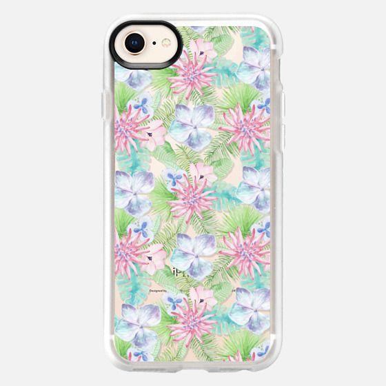 Modern rose pink lavender green tropical floral - Snap Case